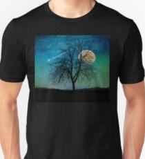 Solitude, Harvest Moon shooting star blue-green sky Unisex T-Shirt