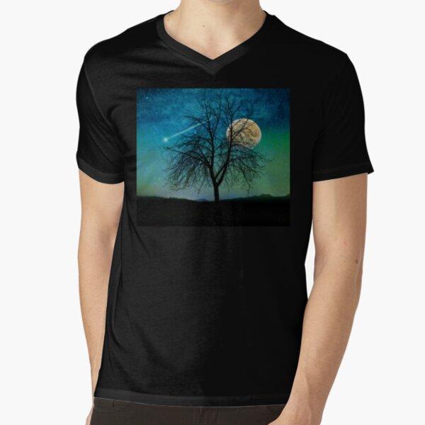 Harvest Moon shooting star blue-green sky Solitude V-Neck T-Shirt
