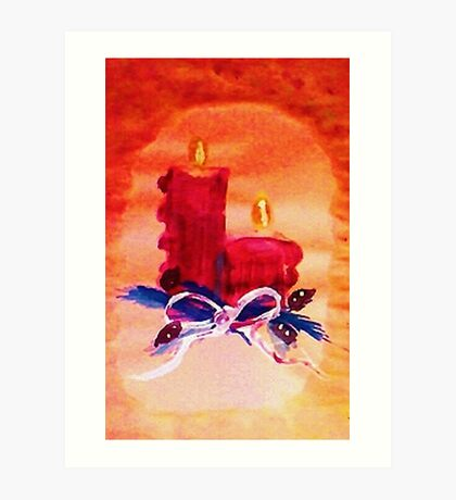 #1 Christmas card ,red candles,  watercolor Art Print