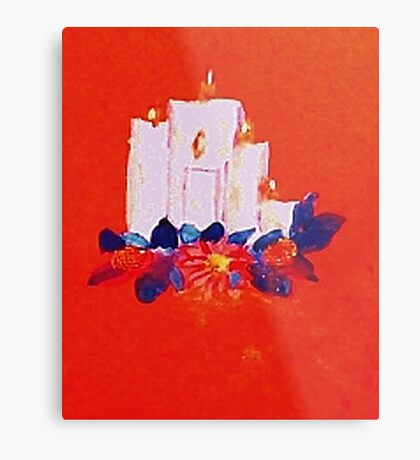 #2 Christmas card ,white grouping candles,  watercolor Metal Print
