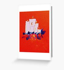#2 Christmas card ,white grouping candles,  watercolor Greeting Card