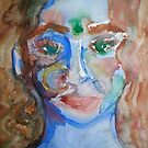 Blue Lady Original Watercolor Painting by ChrisCiolli