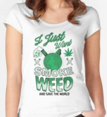SMOKE WEED Women's Fitted Scoop T-Shirt