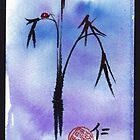 """""""Kindness"""" - watercolor & ink brush pen mixed media painting ladybug & bamboo by Rebecca Rees"""