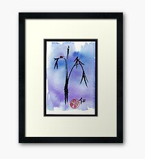 """Kindness"" - watercolor & ink brush pen mixed media painting ladybug & bamboo Framed Print"