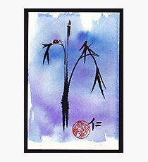"""Kindness"" - watercolor & ink brush pen mixed media painting ladybug & bamboo Photographic Print"