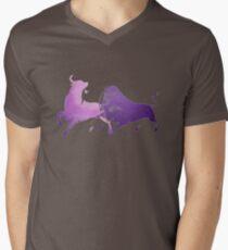 Bull Fight in Lilac Mens V-Neck T-Shirt