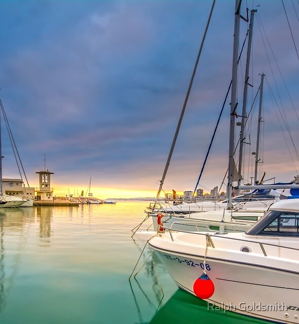 Sunset at the marina by Ralph Goldsmith