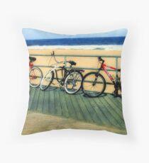 Boardwalk Bicycles Throw Pillow