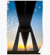 Tsing Ma Bridge in Hong Kong at sunset time Poster