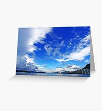 Coastal landscape over the ocean in Hong Kong Greeting Card