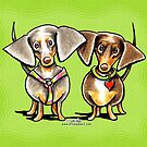 Dashing Dachshunds Dressed to Impress by offleashart