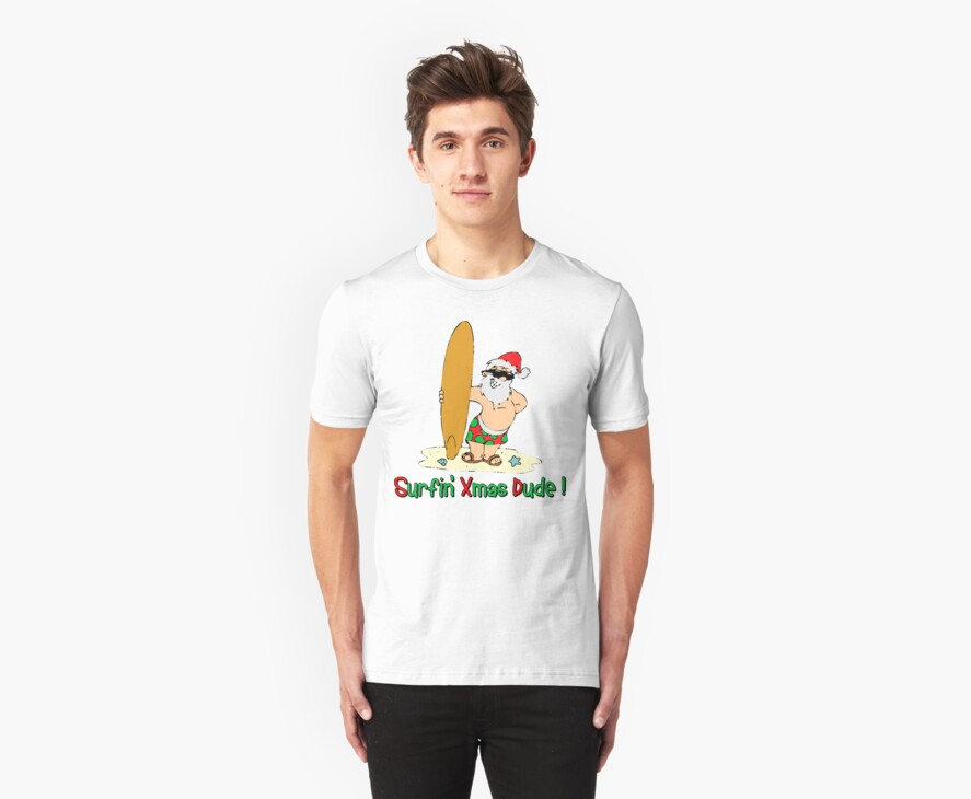 "Funny Christmas T-Shirt ""Surfing Santa Claus""  by HolidayT-Shirts"
