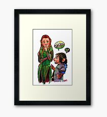 The Red Haired Elf and Puppy Dwarf  Framed Print