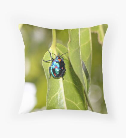 Crawling Up a Leaf Throw Pillow