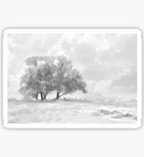 Snowy Scene Drawing Sticker