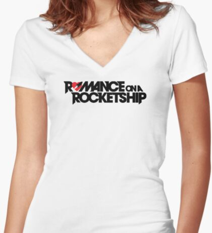 Romance on a Rocket Ship Women's Fitted V-Neck T-Shirt
