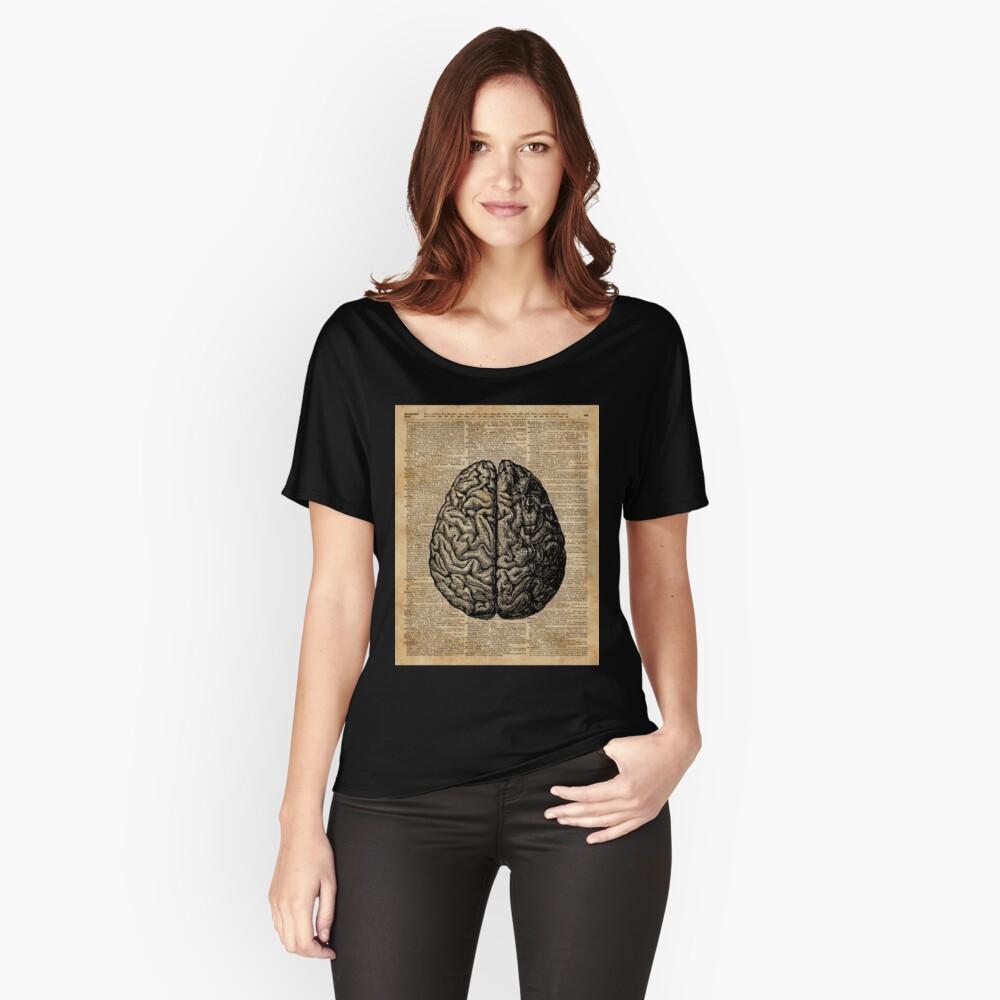 Weinlese-menschliche Anatomie-Gehirn-Illustrations-Wörterbuch-Buch-Seiten-Kunst Loose Fit T-Shirt