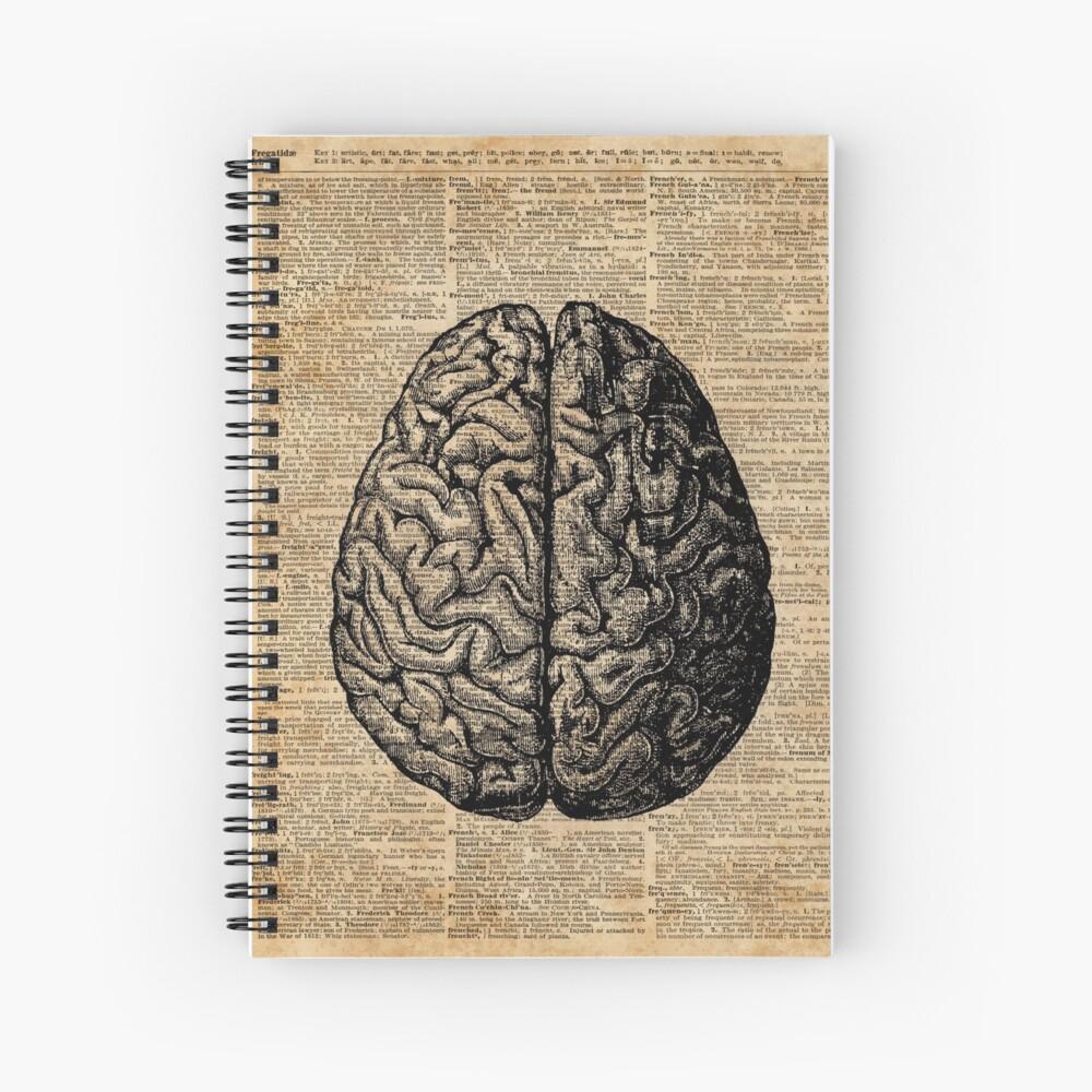Weinlese-menschliche Anatomie-Gehirn-Illustrations-Wörterbuch-Buch-Seiten-Kunst Spiralblock