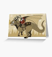 Antlered Dragon & Santa Greeting Card