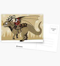 Antlered Dragon & Santa Postcards