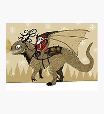 Antlered Dragon & Santa Photographic Print
