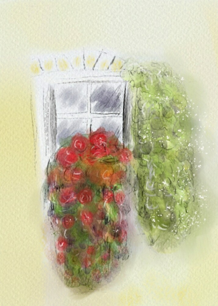 Peaceful Watercolour Window Box Painting by Clare Walker