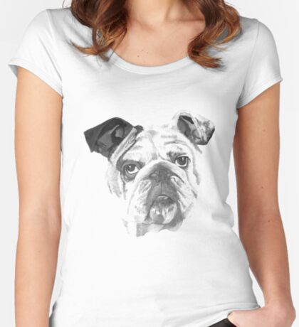 Portrait Of An American Bulldog In Black and White  Women's Fitted Scoop T-Shirt