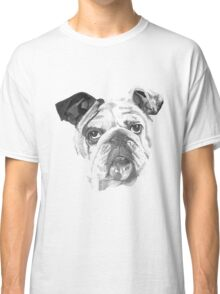 Portrait Of An American Bulldog In Black and White  Classic T-Shirt