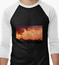How Volcanoes are Made with Sky Lava Men's Baseball ¾ T-Shirt