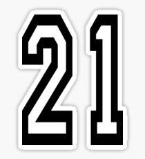 21, TEAM SPORTS, NUMBER 21, TWENTY ONE, TWENTY FIRST, TWO, ONE, Competition,  Sticker