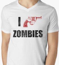 I Shotgun Zombies/ I Heart Zombies  Men's V-Neck T-Shirt