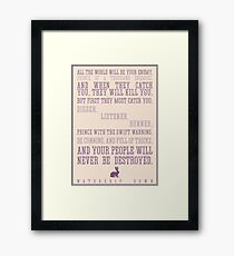 Watership Down / Richard Adams Quote Framed Print