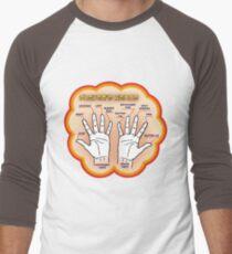 The player's hands. Men's Baseball ¾ T-Shirt
