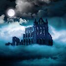 Moonlight on Whitby Abbey by Angela Harburn