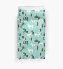 Reindeer Forest - Mint by Andrea Lauren  Duvet Cover