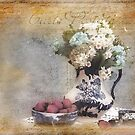 Vintage Flow Blue Post Card by Trudy Wilkerson