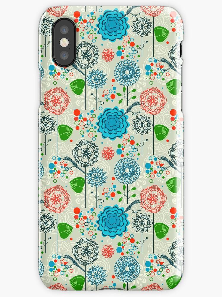 Cute Pastel Tones Retro Floral Pattern Cool Tones by artonwear