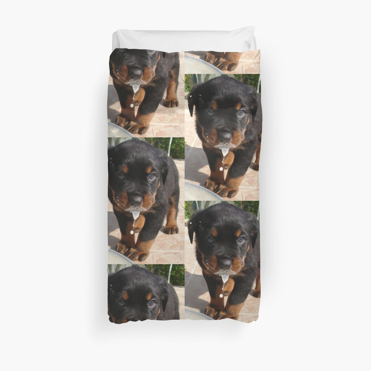 Cute Rottweiler Puppy Lapping Milk Duvet Covers By Taiche Redbubble