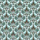 Brown & Blue Vintage Ornate Floral Pattern by artonwear