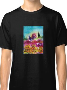 SUNFLOWERS, POPPIES AND BLACK ROOSTER IN BLUE SKY Classic T-Shirt