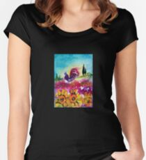 SUNFLOWERS, POPPIES AND BLACK ROOSTER IN BLUE SKY Women's Fitted Scoop T-Shirt