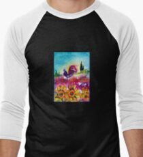 SUNFLOWERS, POPPIES AND BLACK ROOSTER IN BLUE SKY T-Shirt