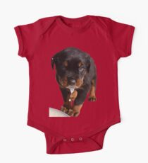 Cute Rottweiler Puppy Lapping Milk Vector One Piece - Short Sleeve
