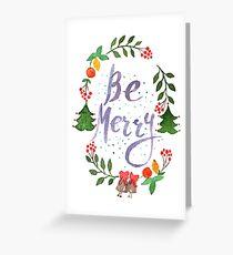 Seien Sie frohe Weihnachten Aquarellillustration Grußkarte