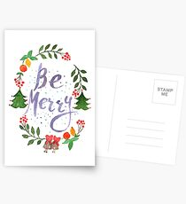 Be Merry christmas watercolor illustration Postcards
