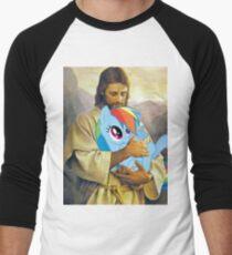Jesus Loves Rainbow Dash Men's Baseball ¾ T-Shirt