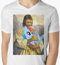 Jesus Loves Rainbow Dash Men's V-Neck T-Shirt