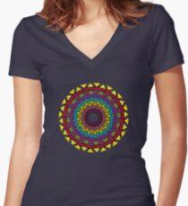 Africa Mandala Women's Fitted V-Neck T-Shirt
