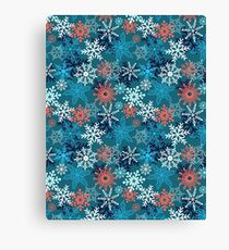 Multi-colored snowflakes form   Canvas Print
